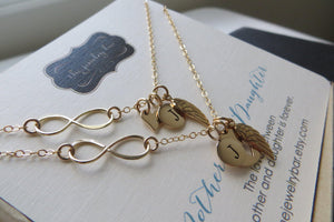Angel wing & infinity initial necklace set - RayK designs