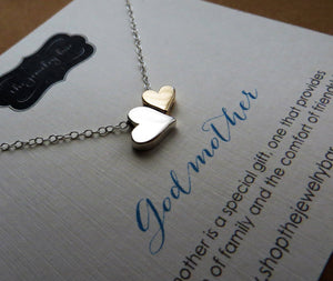 Godmother necklace, double heart necklace, mixed metal charm, godmother gift, Godmom jewelry, step mom gift, gift for godparents, baptism - RayK designs