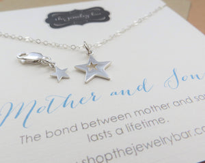 Mother son jewelry - star cutout necklace and clip - RayK designs