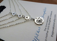 Load image into Gallery viewer, Mother 3 daughter jewelry, Dandelion charm necklace set - RayK designs