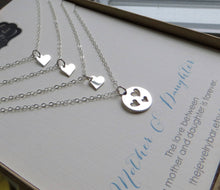 Load image into Gallery viewer, Mother 3 daughters jewelry, three heart cutout necklace, mom gift, sterling silver, birthday gift, celebration, Christmas gift - RayK designs