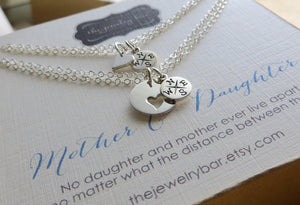 Mother daughter bracelets, compass bracelets, heart cutout charm, going away gift for daughter, mother daughter long distance gift - RayK designs