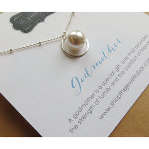 Godmother gift, eternity pearl necklace, elegant godmom necklace, communion, baptism, godmother jewelry, from godchild - RayK designs