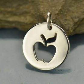 teacher gift, apple charm necklace, gold or sterling silver, teacher appreciation gift, thank you, valentines gift