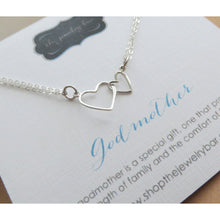 Load image into Gallery viewer, Godmother gift, Big and little heart necklace, mothers day gift, sterling silver two linked heart necklace, Goddaughter - RayK designs