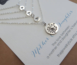 Mother 3 daughter jewelry, Dandelion charm necklace set - RayK designs