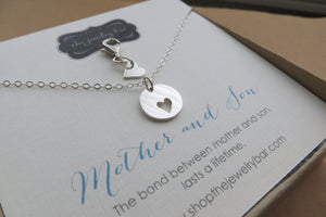 Mother son jewelry - heart cutout necklace, tiny heart clip - RayK designs