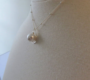 Stepmother wedding gifts, eternity pearl necklace, stepmom jewelry, silver, rose gold, wedding gift from stepdaughter, elegant style