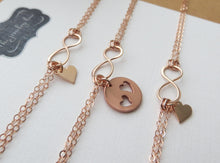 Load image into Gallery viewer, goft for mother of two - Mother daughter bracelet sets - infinity heart - birthday gift ideas for mom - gift for daughters - RayK designs