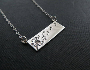 Dandelion horizontal bar necklace, mother daughter necklace, sterling silver pendant, wish, gift for mom, birthday, mothers day - RayK designs