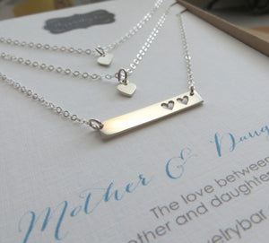 Mother two daughters bar necklace, hearts cutout rectangle pendant, dainty, sterling silver finish, gift for mom of 2 children, mothers day - RayK designs