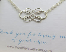 Load image into Gallery viewer, Stepmom gifts, Triple infinity bracelet, interlocking infinity charm, thank you for loving me as your own, stepmother gift from stepdaughter