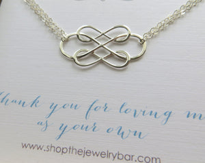 Stepmom wedding gifts, Triple infinity bracelet, interlocking infinity charm, stepmother jewelry, thank you for loving me as your own