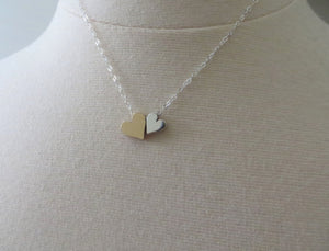 Godmother gift, double heart necklace, mixed metal, gift for Godmom, gold and silver bead, godparents, baptism, proposal, godmother jewelry - RayK designs