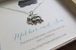 Mother and son necklace, mama and baby elephant pendant necklace, mom and child jewelry, mom birthday gifts, birthday gift for mom from son - RayK designs