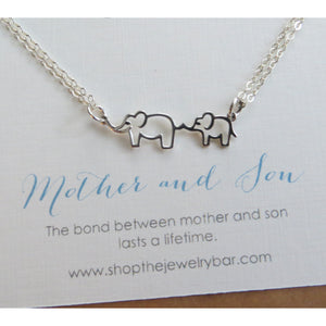 Mother son jewelry, mama and baby elephant necklace - RayK designs