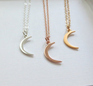 Small gold crescent moon necklace, moon charm necklace, gold crescent moon, celestial jewelry - RayK designs