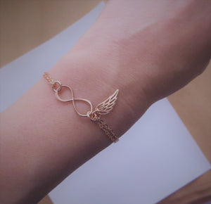 Rose gold Infinity angel wing bracelet, memorial, protection, friendship, best friends gift, loss of loved ones, miscarriage