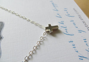 tiny cross necklace, faith necklace, christian jewelry, sterling silver cross bead charm, faith gifts for goddaughter