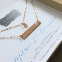 Load image into Gallery viewer, Rose gold mother daughter bar necklace, mom and child jewelry set - RayK designs