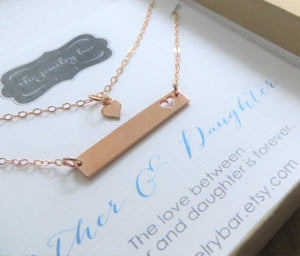Rose gold mother daughter bar necklace, mom and child jewelry set - RayK designs