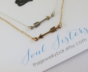 Soul sister necklace, Small Sideways Arrow necklace, soul sister jewelry, best friends gift for 2, sterling silver gold, sorority gift - RayK designs