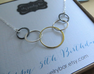 5 rings for 5 decades necklace-mixed metal - RayK designs