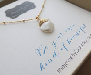 Keishi pearl necklace, Be your own kind of beautiful message jewelry, birthday gift for her, daughter, gift for women, freshwater pearl - RayK designs