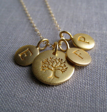 Load image into Gallery viewer, Personalized necklace for grandma, gold initial disk, tree of life charm, grandmother gift, granny necklace, birthday, Christmas gifts