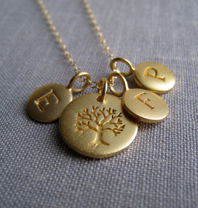 Personalized necklace for grandma, gold initial disk, tree of life charm, grandmother gift, granny necklace, birthday, Christmas gifts