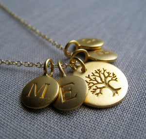 personalized gift for grandmother, tree of life initial necklace, holiday gift for mom, grandma necklace, grandmother gift, family monogram
