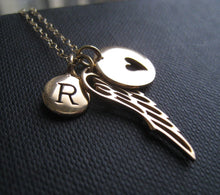 Load image into Gallery viewer, Personalized angel wing necklace, angel wing charm and initial, memorial jewelry, monogram, in loving memory, remembrance, sympathy gift