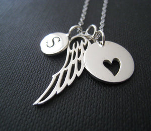 Personalized Angel wing necklace, memorial Initial necklace, angel wing charm, remembrance jewelry, gift, grief