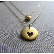 Load image into Gallery viewer, mothers day gift, Mother daughter necklace set, 2 gold heart necklaces, mother of the bride gift from daughter, wedding, mothers day jewelry - RayK designs