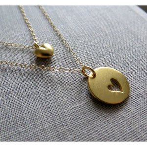 mothers day gift, Mother daughter necklace set, 2 gold heart necklaces, mother of the bride gift from daughter, wedding, mothers day jewelry - RayK designs