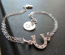 Load image into Gallery viewer, Personalized best friends Horseshoe initial bracelet
