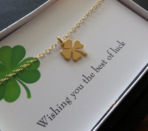 You are my lucky charm necklace, Shamrock necklace, four leaf clover, best wishes, good luck charm , graduation gift, gold or silver
