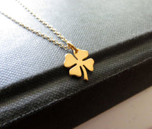Load image into Gallery viewer, You are my lucky charm necklace, Shamrock necklace, four leaf clover, best wishes, good luck charm , graduation gift, gold or silver