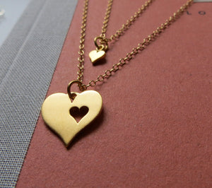 Gift for mom and daughter, heart cutout necklace set of 2, mother necklace, daughter necklace,  gold charm - RayK designs