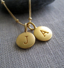 Load image into Gallery viewer, Gold initial necklace, personalized jewelry, you are one in a million, 24k gold disk letter charm, monogram, gift for her minimalist jewelry - RayK designs