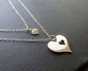 Mother daughter matching necklace sets, silver heart cutout - RayK designs