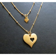 Load image into Gallery viewer, Mommy and me jewelry, satellite chain, mother daughter jewelry, new mom gift, two gold cutout heart matching sets, mother and child jewelry - RayK designs
