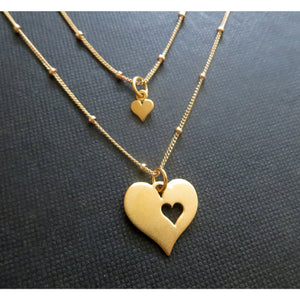 Mommy and me jewelry, satellite chain, mother daughter jewelry, new mom gift, two gold cutout heart matching sets, mother and child jewelry - RayK designs