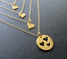 Load image into Gallery viewer, Mother 3 daughter gold heart cutout necklace set - RayK designs