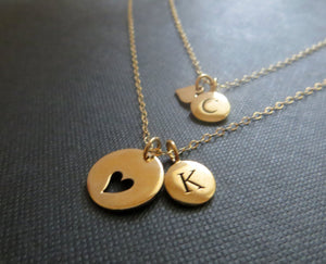 personalized mother daughter necklace, mother daughter initial jewelry, heart cutout charm, mother daughter gift, letter disk