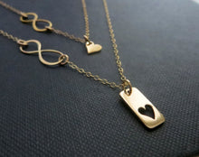 Load image into Gallery viewer, Mother daughter infinity rectangle bar necklace set - RayK designs