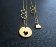 Load image into Gallery viewer, Bridal shower gift, mother daughter necklace, heart cutout, infinity necklace, gift for daughter from parents, wedding - RayK designs