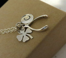 Load image into Gallery viewer, Good luck initial necklace, make a wish, shamrock charm, wishbone necklace, personalized lucky jewelry, Christmas gift, gift for her - RayK designs