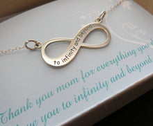 Load image into Gallery viewer, To infinity and beyond necklace, engraved infinity necklace, Mothers infinity necklace, gift for mom