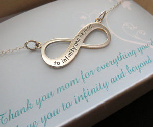 To infinity and beyond necklace, engraved infinity necklace, Mothers infinity necklace, gift for mom